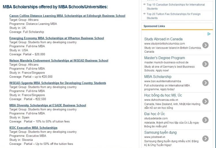 MBA scholarship