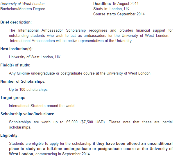 International Ambassador Scholarships at University of West London   2014 2015 Scholarships